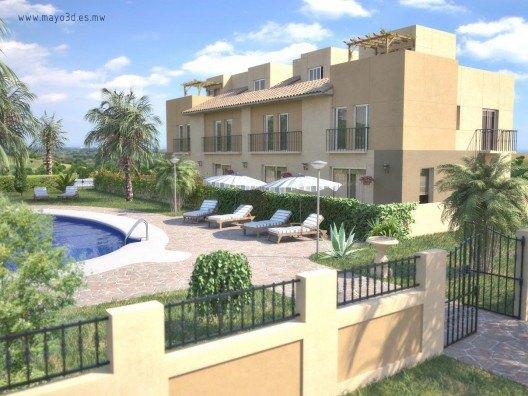 Infografía 3D viviendas adosadas por Bonet Arquitectos