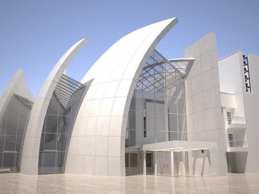 Infografía 3D de Iglesia del Jubileo de Richard Meier por Bonet Arquitectos