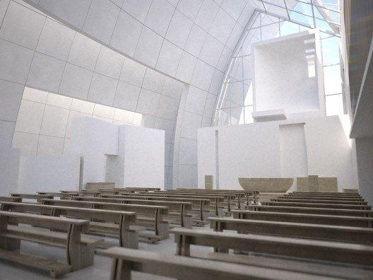 Infografía 3D interior Iglesia del Jubileo de Richard Meier por Bonet Arquitectos