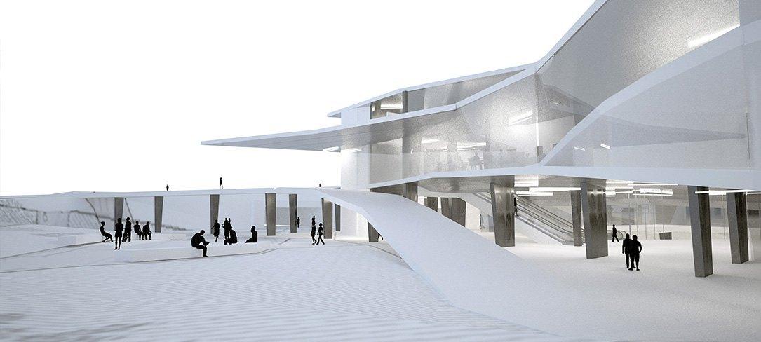 Vista exterior edificación pública, Bonet Arquitectos