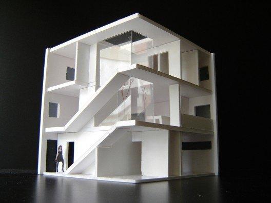 Maqueta de la Casa Cubo, vivienda en esquina por Bonet Arquitectos