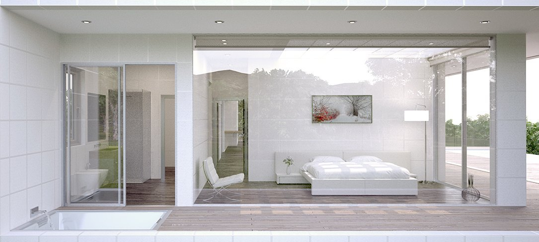 Dormitorio de vivienda unifamiliar Villa Mini por Bonet Arquitectos